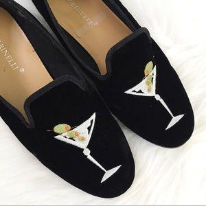 A. Marinelli Black Velvet Martini Loafers